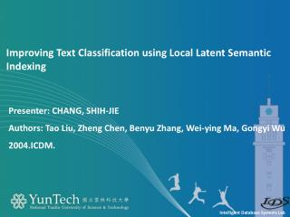 Improving Text Classification using Local Latent Semantic Indexing