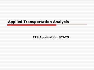 Applied Transportation Analysis