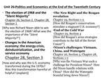 Unit 26:Politics and Economics at the End of the Twentieth Century