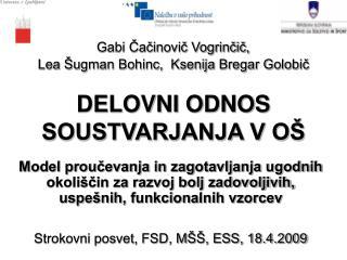 Gabi Cacinovic Vogrincic,  Lea  ugman Bohinc,  Ksenija Bregar Golobic   DELOVNI ODNOS SOUSTVARJANJA V O