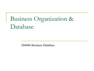 Business Organization & Database
