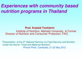 Experiences with community based nutrition programs in Thailand