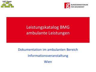 Leistungskatalog BMG ambulante Leistungen