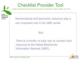 Checklist Provider Tool