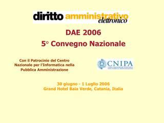 DAE 2006 5° Convegno Nazionale