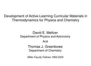 Development of Active-Learning Curricular Materials in Thermodynamics for Physics and Chemistry