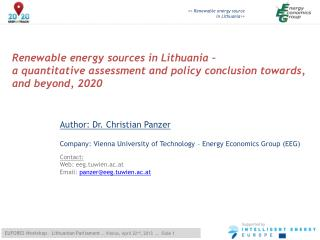 Renewable energy  sources  in Lithuania  –