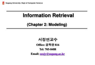 Information Retrieval (Chapter 2: Modeling)