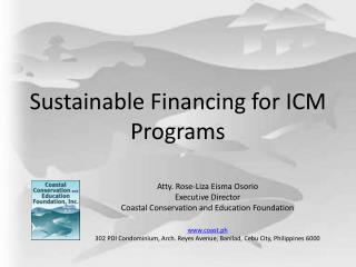 Sustainable Financing for ICM Programs