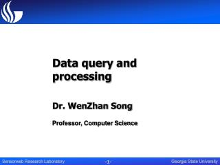 Data query and processing Dr. WenZhan Song Professor, Computer Science