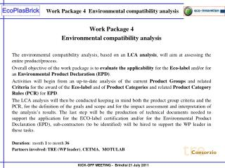Work Package 4  Environmental compatibility analysis
