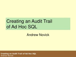 Creating an Audit Trail  of Ad Hoc SQL