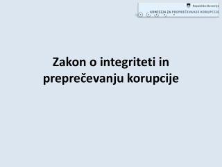 Zakon o integriteti in preprečevanju korupcije