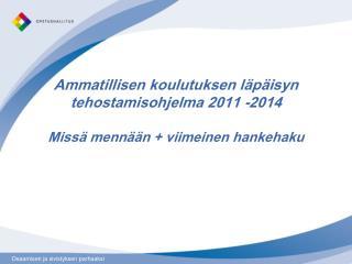 Ammatillisen koulutuksen läpäisyn  tehostamisohjelma on  osa  nuorisotakuuta. Yhteensä 16 milj. €