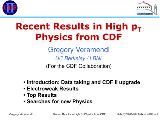 Recent Results in High p T  Physics from CDF