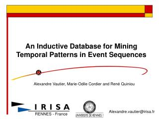 An Inductive Database for Mining Temporal Patterns in Event Sequences