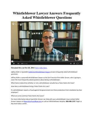 Whistleblower Lawyer Answers Frequently Asked Whistleblower