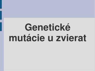 Genetické mutácie u zvierat