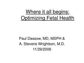 Where it all begins:  Optimizing Fetal Health