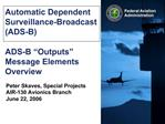 Automatic Dependent Surveillance-Broadcast ADS-B  ADS-B  Outputs  Message Elements Overview