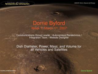 Dorrie Byford Week 7: March 1 st , 2007