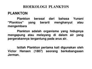 BIOEKOLOGI  PLANKTON