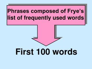 Phrases composed of Frye's list of frequently used words