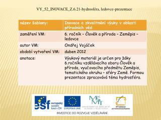 VY_52_INOVACE_Z.6.21-hydrosféra, ledovce-prezentace