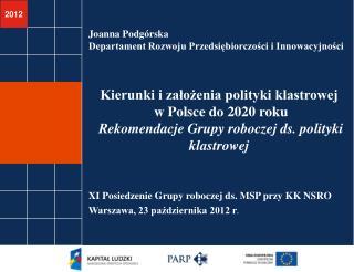 Joanna Podgórska Departament Rozwoju Przedsiębiorczości i Innowacyjności