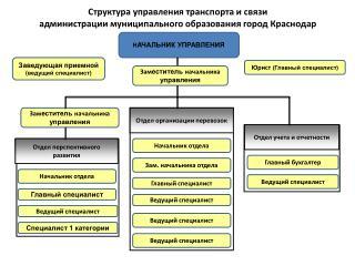 Структура управления транспорта и связи  администрации муниципального образования город Краснодар