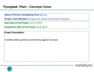 Pyongtaek Plant –  Conveyor Cover