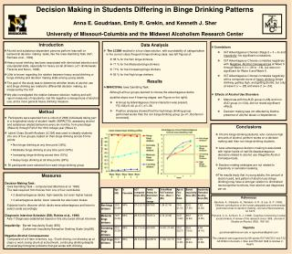 Decision Making in Students Differing in Binge Drinking Patterns  Anna E. Goudriaan, Emily R. Grekin, and Kenneth J. She