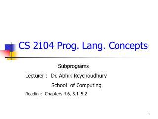 CS 2104 Prog. Lang. Concepts