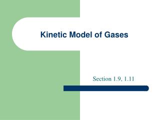 Kinetic Model of Gases