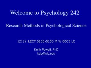 Welcome to Psychology 242