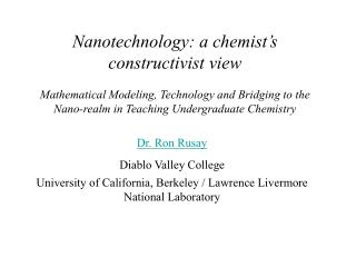 Dr. Ron Rusay Diablo Valley College