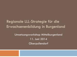 Regionale LLL-Strategie für die Erwachsenenbildung in Burgenland