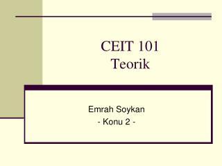 CEIT 101 Teorik