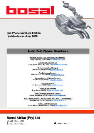 New Cell Phone Numbers