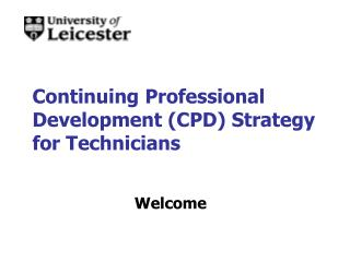 Continuing Professional Development (CPD) Strategy for Technicians