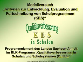 """Modellversuch """"Kriterien zur Entwicklung, Evaluation und Fortschreibung von Schulprogrammen (KES)"""""""