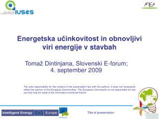 Energetska učinkovitost in obnovljivi viri energije v stavbah