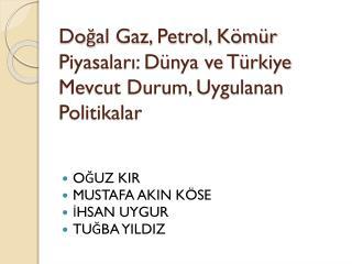 Doğal Gaz, Petrol, Kömür Piyasaları: Dünya ve Türkiye Mevcut Durum, Uygulanan Politikalar