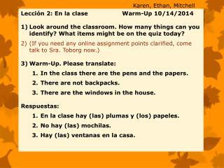 Lección 2: En la clase  Warm -Up  10/14/2014
