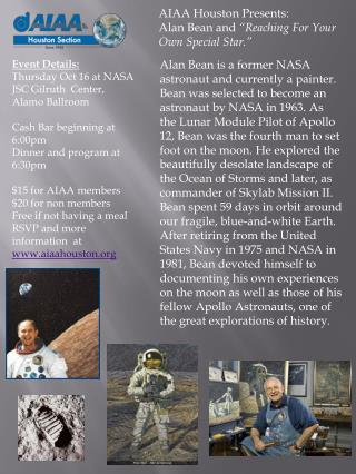 "AIAA Houston Presents:  Alan Bean and  ""Reaching For Your Own Special Star."""