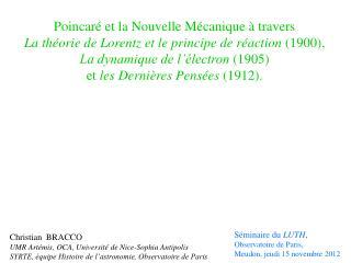 Poincaré et la Nouvelle Mécanique à travers