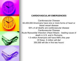 CARDIOVASCULAR EMERGENCIES Cardiovascular Disease