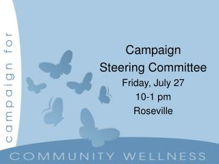 Campaign Steering Committee Friday, July 27   10-1 pm Roseville