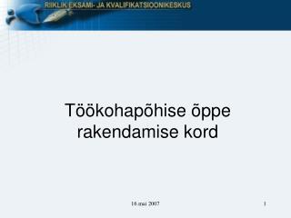 T��kohap�hise �ppe rakendamise kord