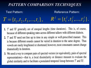 PATTERN COMPARISON TECHNIQUES
